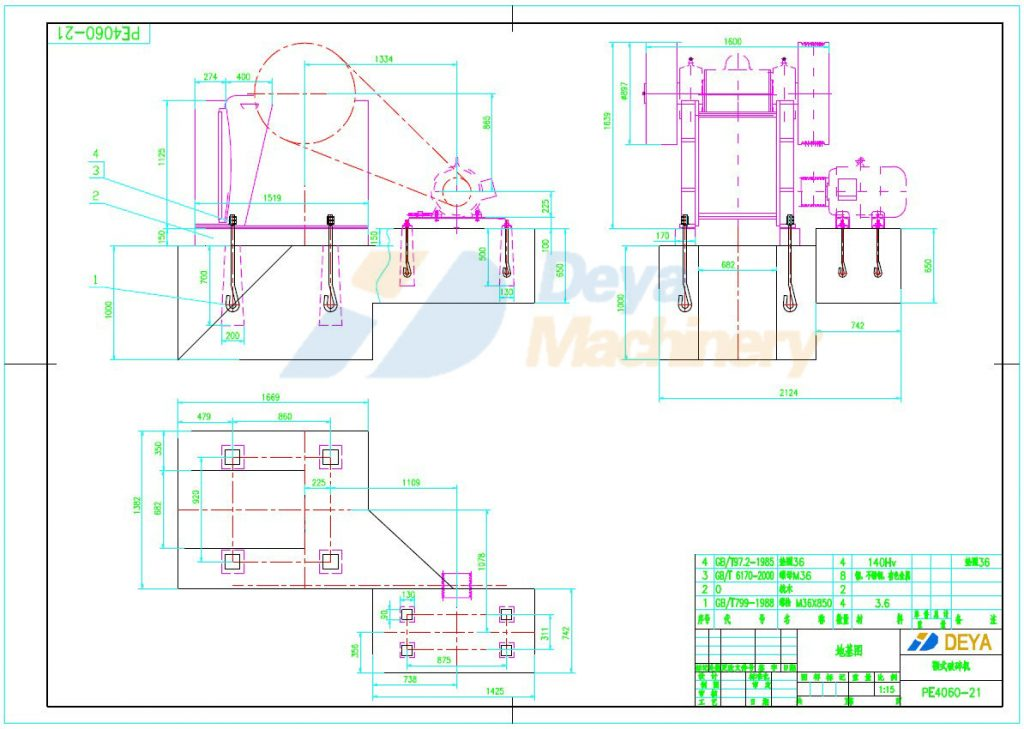 Jaw crusher PE 400x600 foundation drawing